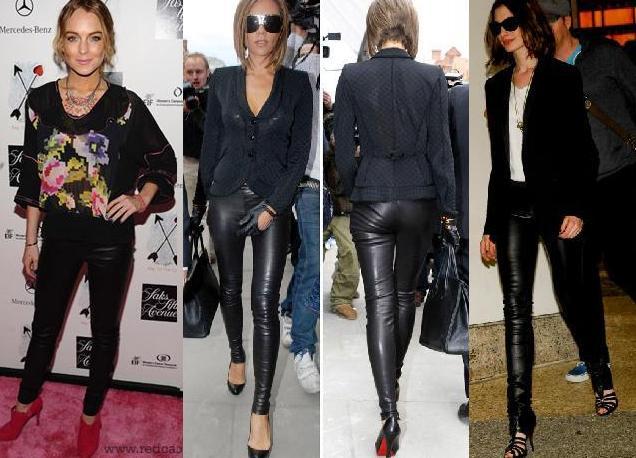 calças de couro feminina